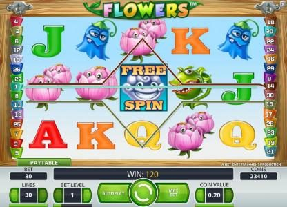 Sin Spins featuring the Video Slots Flowers with a maximum payout of $37,500