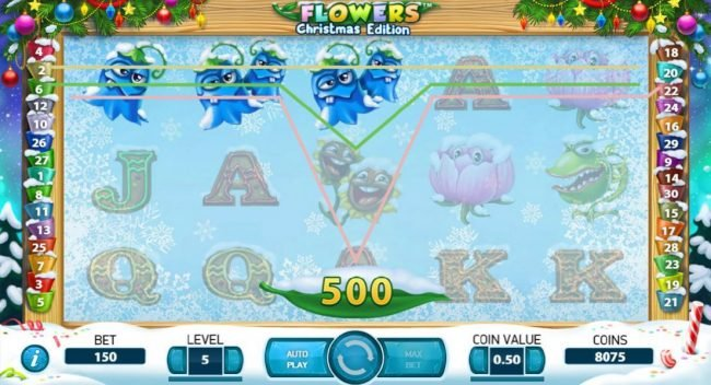 Vegas Baby featuring the Video Slots Flowers Christmas Edition with a maximum payout of $37,500