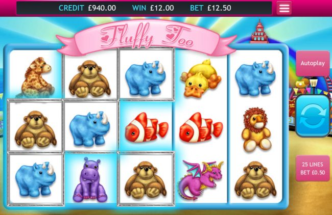 Vegas Paradice featuring the Video Slots Fluffy Too with a maximum payout of $32,000
