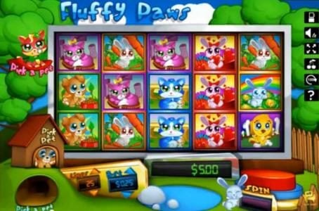 Play slots at Slotland: Slotland featuring the Video Slots Fluffy Paws with a maximum payout of $375