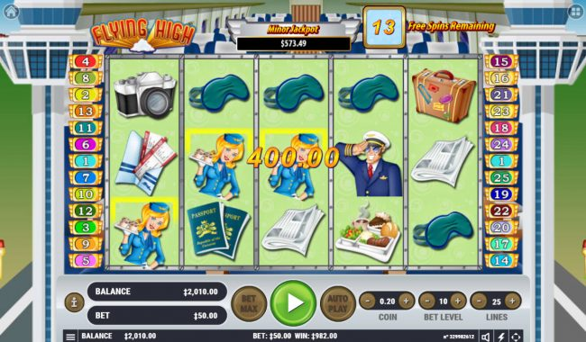 Vive Mon Casino featuring the Video Slots Flying High with a maximum payout of $3,000,000