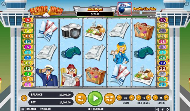 CryptoWild featuring the Video Slots Flying High with a maximum payout of $3,000,000
