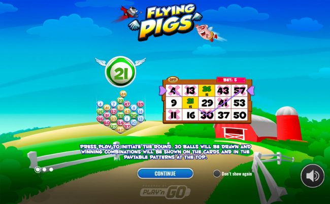 Africa Casino featuring the Video Slots Flying Pigs Bingo with a maximum payout of $75,000
