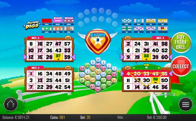 Wild Slots featuring the Video Slots Flying Pigs Bingo with a maximum payout of $75,000