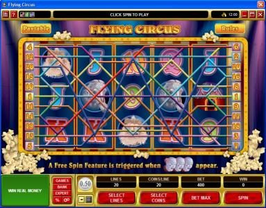 Casino Share featuring the Video Slots Flying Circus with a maximum payout of $50,000
