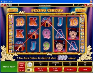 UK Casino Club featuring the Video Slots Flying Circus with a maximum payout of $50,000