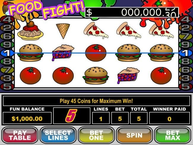All Star Slots featuring the Video Slots Food Fight with a maximum payout of $50,000