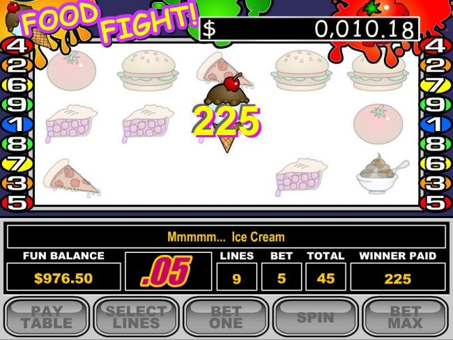 Royal Ace featuring the Video Slots Food Fight with a maximum payout of $50,000