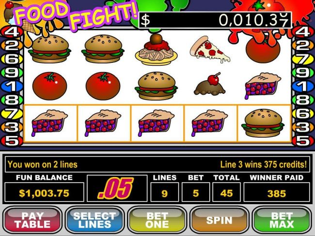 iNET Bet featuring the Video Slots Food Fight with a maximum payout of $50,000