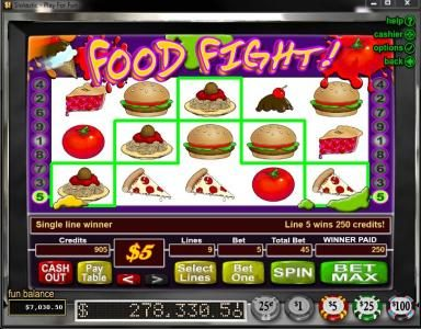 Play slots at Fair Go: Fair Go featuring the Video Slots Food Fight with a maximum payout of $50,000