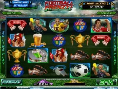 Football Frenzy! :: Main game board featuring five reels and 50 paylines with a progressive jackpot as the max payout