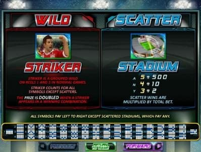 Striker symbol is wild - striker is a grouped wild on reels 1 and 5 in normal games. The prize is doubdled when a striker appears in a winning combination. Scatter symbol is the stadium.
