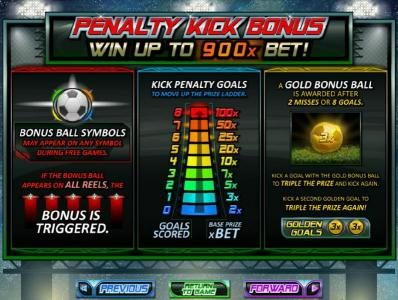 Penalty Kick Bonus - Win up to 900x Bet! If the bonus appears on all reels, the bonus is triggered
