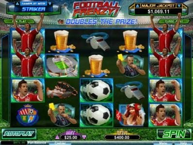 Football Frenzy! :: Grouped striker wilds on reels 1 and 5 triggers a big win with prize award doubled