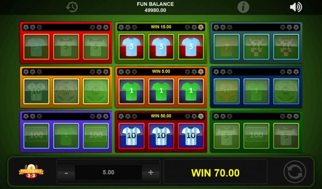 Grand Ivy featuring the Video Slots Football 3x3 with a maximum payout of $8,070