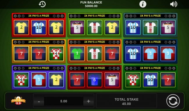 Play slots at Fun Casino: Fun Casino featuring the Video Slots Football 3x3 with a maximum payout of $8,070