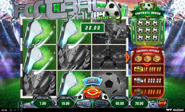 Energy featuring the Video Slots Football Mania Deluxe with a maximum payout of $50,000