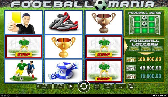 Football Mania :: Matching symbols are locked and the remaining symbols are respun