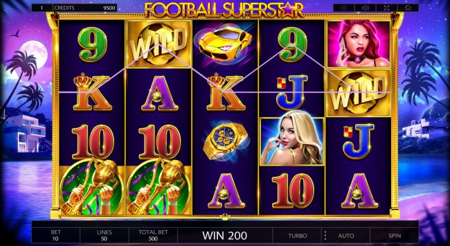 Casinia featuring the Video Slots Football Superstar with a maximum payout of $250,000