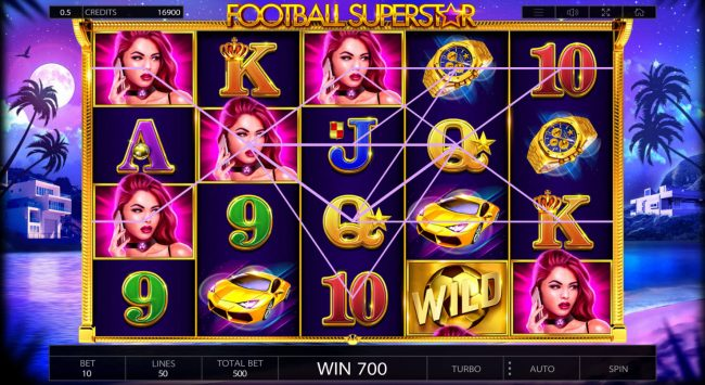 Oshi featuring the Video Slots Football Superstar with a maximum payout of $250,000
