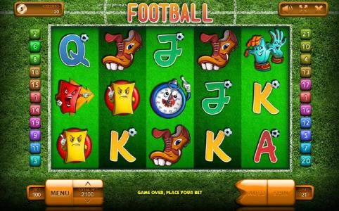Football :: Main game board featuring five reels and 20 paylines with a $42,000 max payout