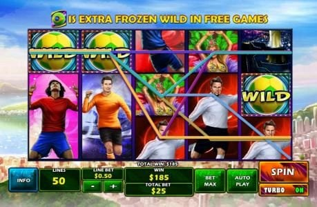 Football Carnival :: A $185.00 big win triggered by a pair of wild symbols leading to multiple winning paylines.