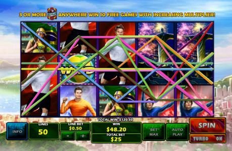 Casino Lucky Win featuring the Video Slots Football Carnival with a maximum payout of $75,000