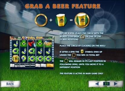 grab a beer feature, before a spin, place the circle with the words cold beer on one of the 15 reel positions.