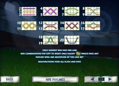 20 payline configuration layouts