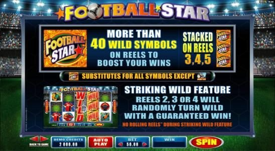 Winward featuring the Video Slots Football Star with a maximum payout of $105,000