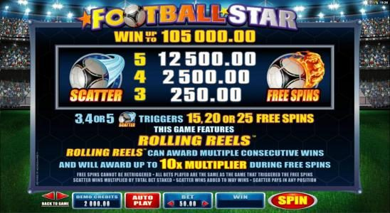 Vegas Slot featuring the Video Slots Football Star with a maximum payout of $105,000