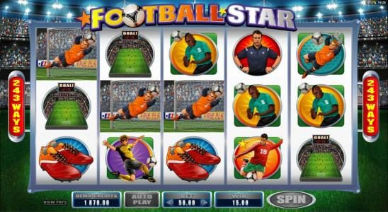 Crystal featuring the Video Slots Football Star with a maximum payout of $105,000