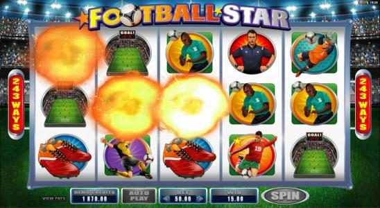 Omnia featuring the Video Slots Football Star with a maximum payout of $105,000