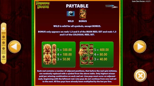 Club Vulkan featuring the Video Slots Forbidden Dragons with a maximum payout of $250,000