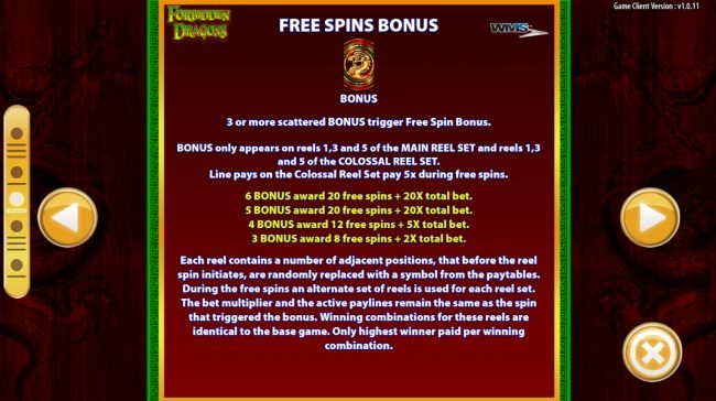 Forbidden Dragons :: Free Spins Rules