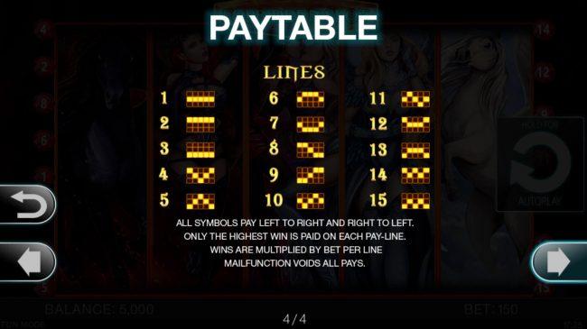 Forbidden Slot :: Paylines 1-15