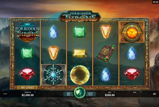 Platinum Play featuring the Video Slots Forbidden Throne with a maximum payout of $2,500