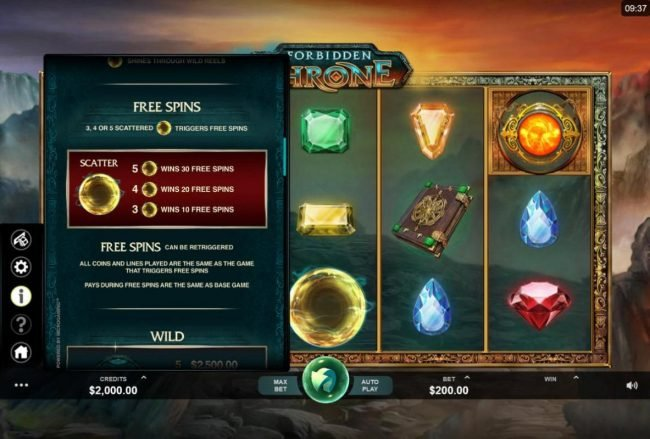 Play slots at Play Million: Play Million featuring the Video Slots Forbidden Throne with a maximum payout of $2,500