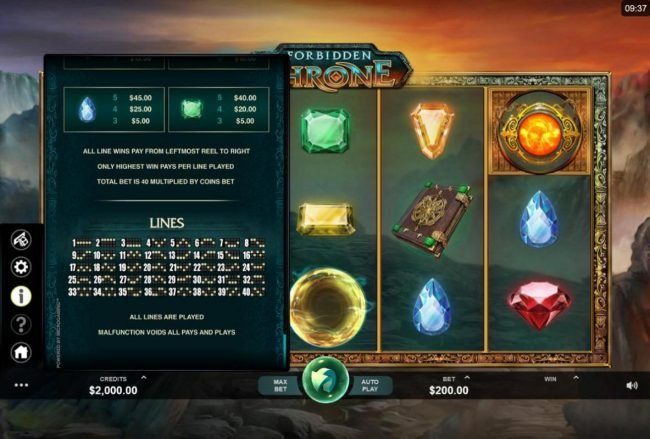 Lucky 247 featuring the Video Slots Forbidden Throne with a maximum payout of $2,500
