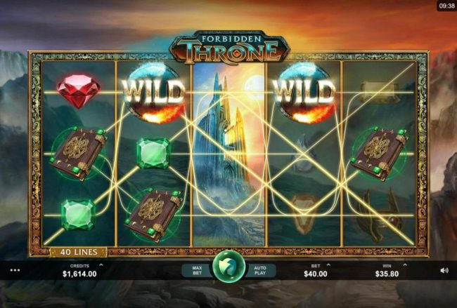 Rizk featuring the Video Slots Forbidden Throne with a maximum payout of $2,500