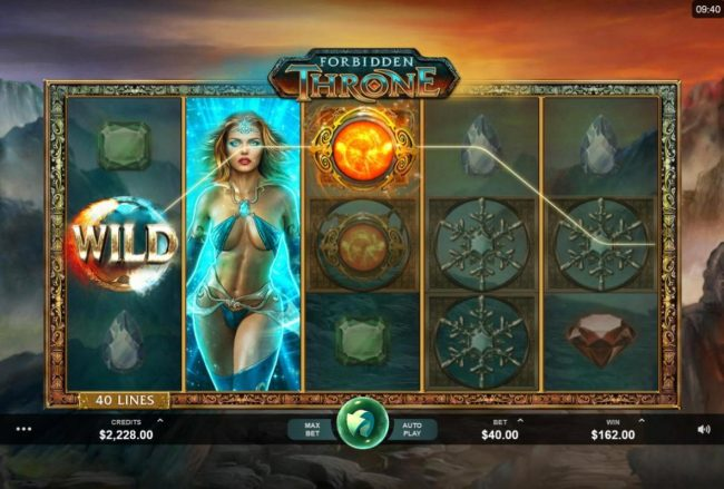 Wild Jackpots featuring the Video Slots Forbidden Throne with a maximum payout of $2,500