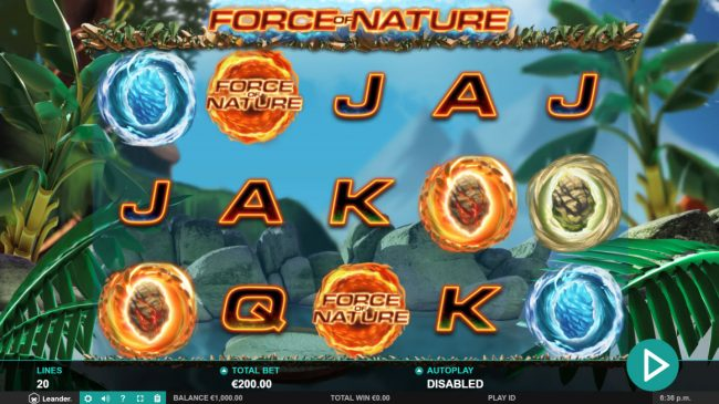 Noxwin featuring the Video Slots Force of Nature with a maximum payout of $100,000