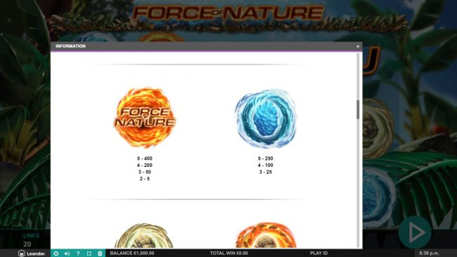 Lightbet featuring the Video Slots Force of Nature with a maximum payout of $100,000