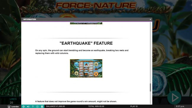 Force of Nature :: Earthquake Feature Rules