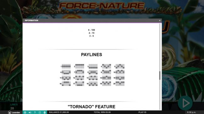 Force of Nature :: Paylines 1-20