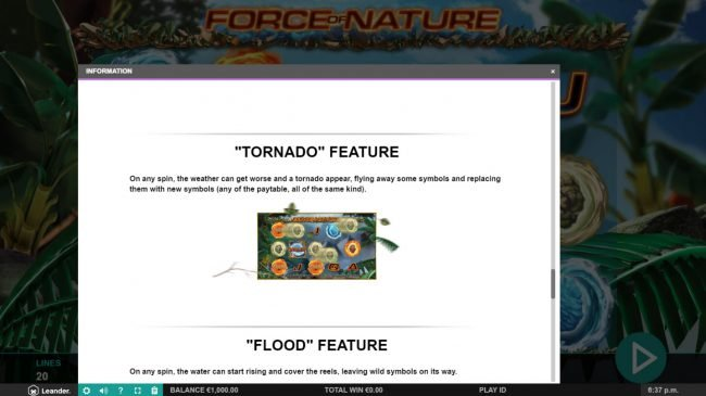 Force of Nature :: Tornado Feature Rules