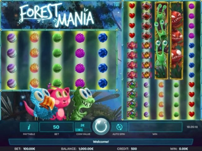 A woodland fairy fantasy themed main game board featuring five reels and 100 paylines with a $50,000 max payout.