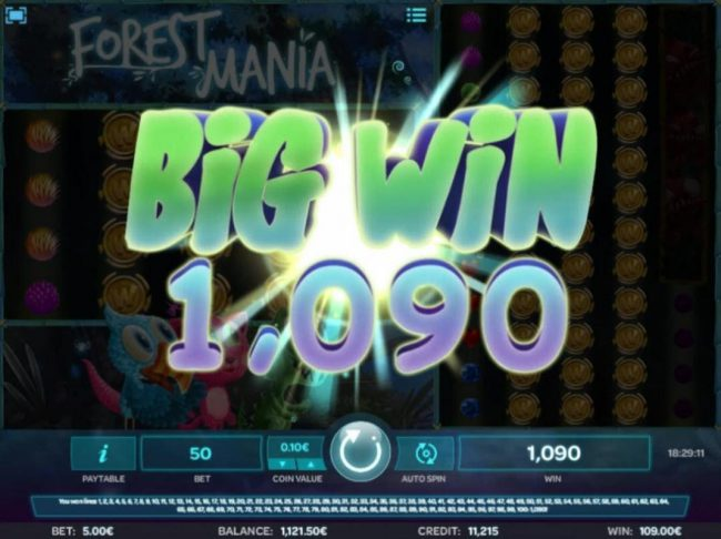A 1,090 big win triggered by multiple winning combinations