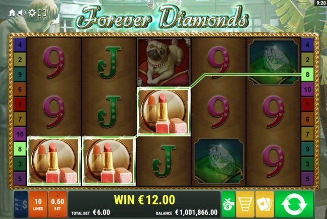 Melbet featuring the Video Slots Forever Diamonds with a maximum payout of $12,000