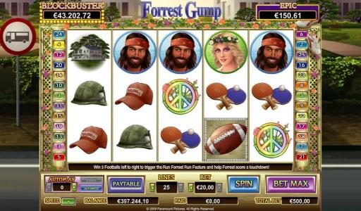 EU Casino featuring the Video Slots Forrest Gump with a maximum payout of $50,000